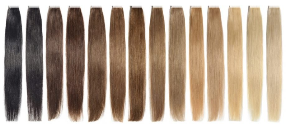 various colors of straight adhesive tape in human hair extensions
